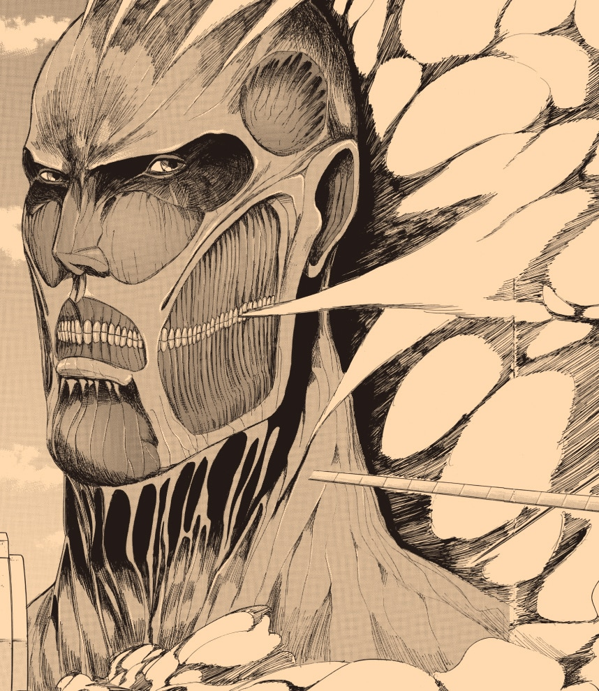 Close up of a titan from Attack on Titan
